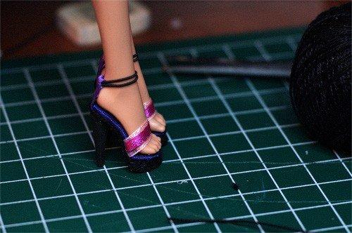 Готовые туфельки с подошвой из скрепки