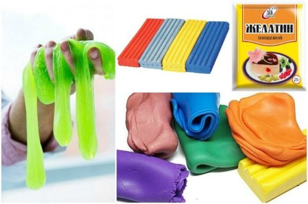 Ингредиенты для лизуна из пластилина