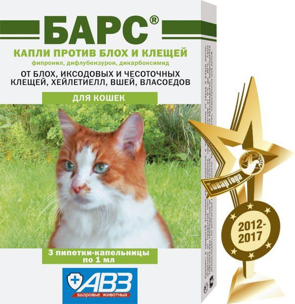 Капли Барс от блох и клещей для кошек