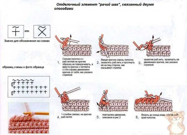 Техника вязания «рачьего шага»