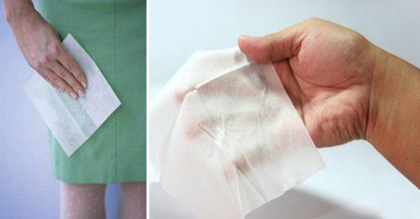 Бумажная салфетка для впитывания пятна крови