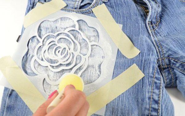 Рисунок на джинсовой ткани