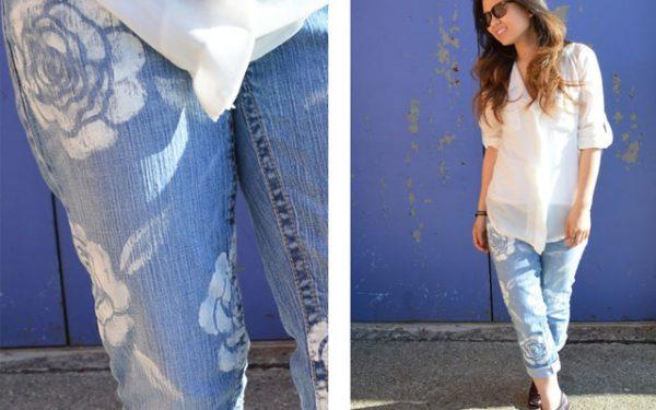 Пример росписи брюк акриловыми красками