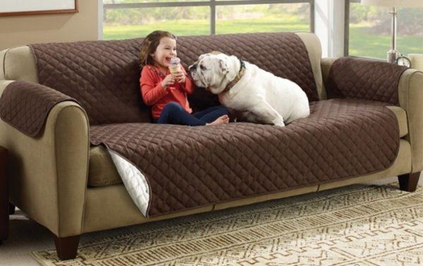 Девочка и собака на мягком диване