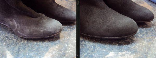 Фото до и после чистки замшевой обуви молочно-содовым раствором