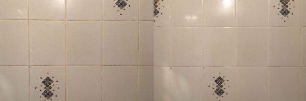 Кафель в ванной до и после использования Доместос «Кристальная чистота»