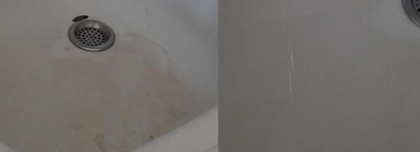 Раковина до и после использования Доместос
