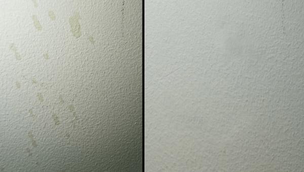 Стена до и после чистки спреем Доместос