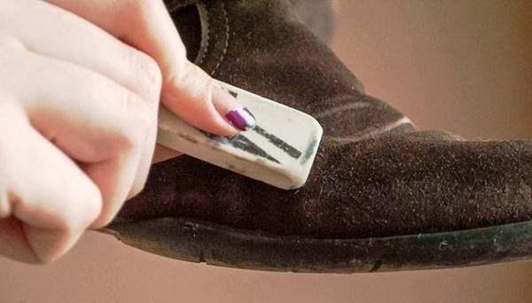 Чистка замшевой обуви ластиком