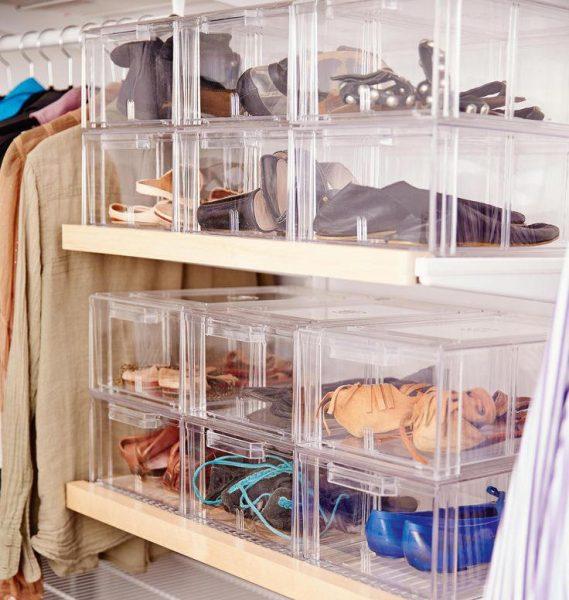 Хранение обуви в пластиковых контейнерах