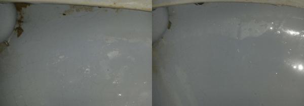 Унитаз до и после применения Доместос «Эксперт сила 7»