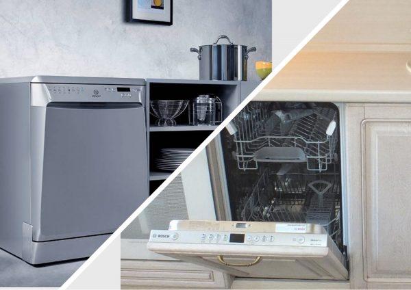 Отдельностоящая и встроенная посудомойки