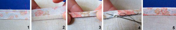 Пошаговый фотопроцесс обработки края бейкой