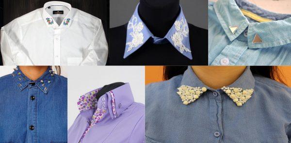Разные виды украшения воротника на женской рубашке