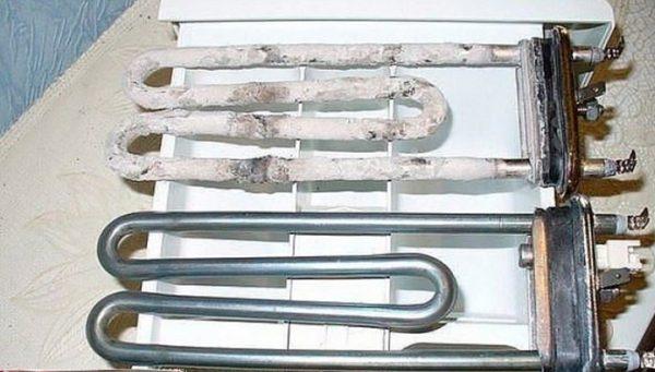 Нагревательный элемент стиральной машинки до и после чистки уксусом