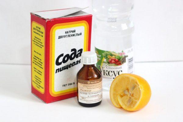 Сода, лимонная кислота и столовый уксус