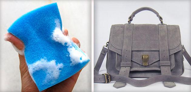 80e08a67dba2 Кроме мыльного раствора для чистки замшевой сумки понадобится мягкая чистая  губка