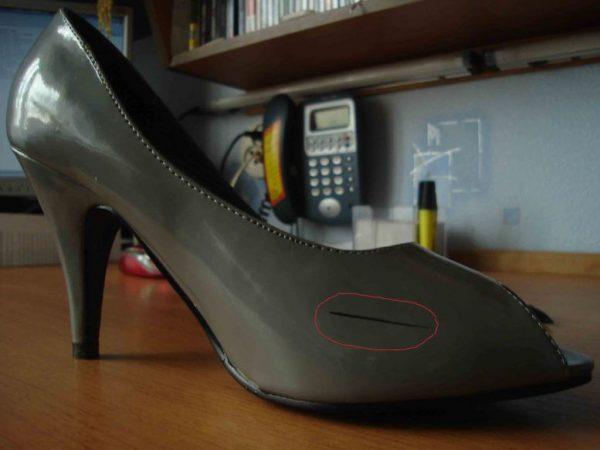 Лаковые туфли с чёрными полосами