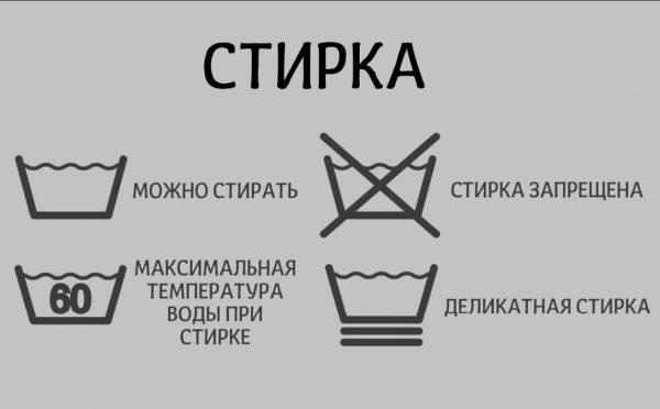 Значки на одежде о стирке