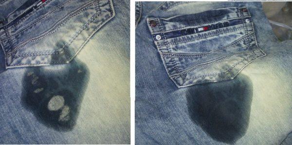 Пятна от герметика на джинсах